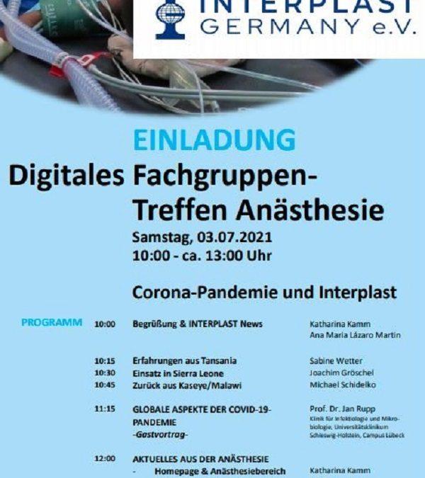Einladung zum digitalen Fachgruppen-Treffen der Anästhesie am 03.07.2021